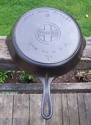 Vintage Griswold Cast Iron #8 Large Block Logo Skillet with Heat Ring p/n 704 V