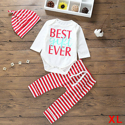 XL 3PCS Set Newborn Baby Girl Boy Top Romper+Pants Hat Outfit Clothes