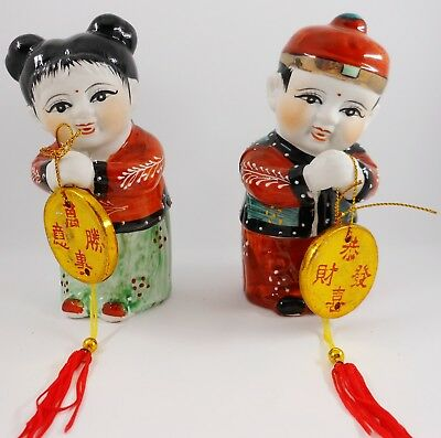 "5.5"" Porcelain Bisque Gong Hei Fa Choi  Chinese Boy and Girl  New Year Figurines"
