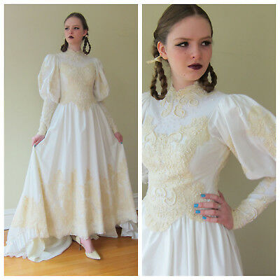 Vintage 1980s Wedding Dress Ivory Satin Huge Puffed Sleeves Beaded Lace Bridal S