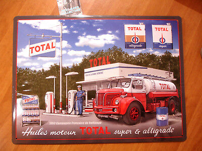 Tole Plaque Metal  Station Service Pompe Essence Total Berliet Tin Sign