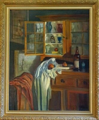 Rare ca.1900 Extra Large Buffet & Hutch Interior Scene Painting Oil/Canvas/Frame