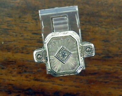 Vintage silver 1920's 1930 ART DECO ANTIQUE FILIGREE CAMPHOR GLASS CRYSTAL ring