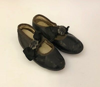 Pair of Antique Baby Little Girl Black Leather Shoes / Booties w/ Ornate Buckles