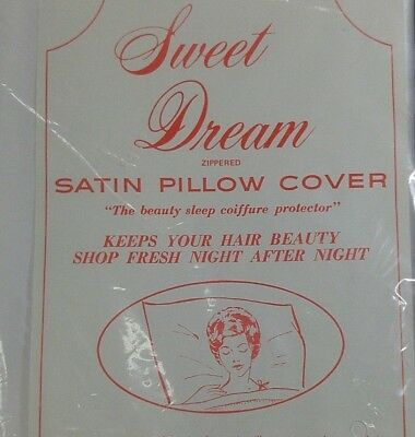 Vintage White Satin Pillow Case Sweet Dreams Standard Size Cover Zippered