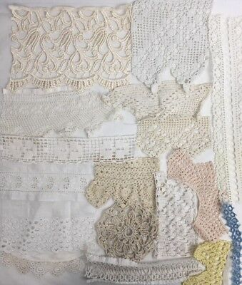 Lot of Antique Vintage Lace Trims Edges Ribbon Scraps Rescued Salvage Estate