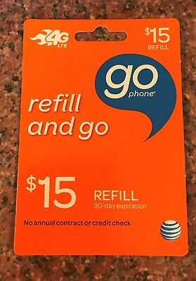 AT&T Go Phone $15 Refill And Go  PIN - Refill Card 30 Day Expiration