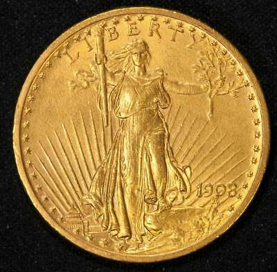 1908 No Motto $20 Saint Gaudens Double Eagle Item#T9203
