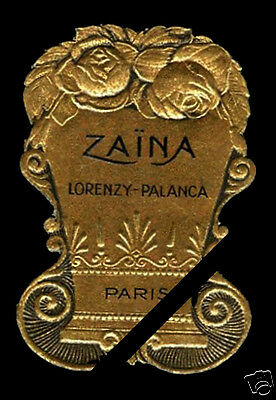 Vintage French Perfume Label Antique Early 1900's Zaina Embossed Lorenzy Palanca