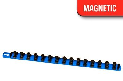 "Ernst 8403M 18"" Magnetic Socket Organizer Rail w/ 15 1/4"" Twist Lock Clips, Blue"