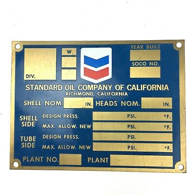 Standard Oil Company Of California Brass Plate Sign