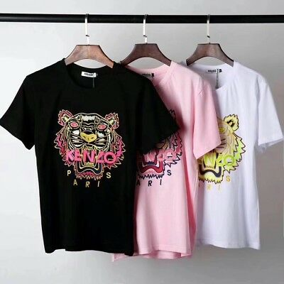 Kenzo Paris Classic tiger head embroidery Unisex T-Shirt K003# Size S-XXL