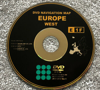 2017-2018 Toyota E1F Sat Nav Dvd Update Disc Western Europe Uk Maps
