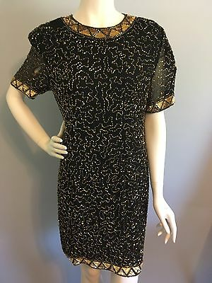 Lillie Rubin Women's Black and Gold Sequin 100% Silk Vintage Dress Size 10
