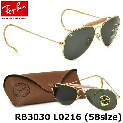 New Ray-Ban RB 3030 L0216 Authentic Outdoorsman Gold Aviator  Sunglasses