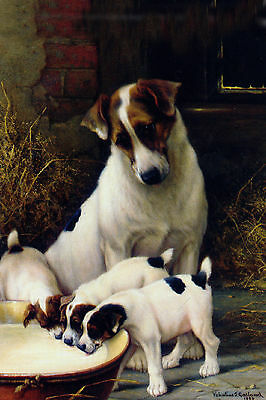 Jack Russell Terrier Dog w Little Puppies V Garland LARGE New Blank Note Cards