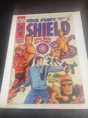 Nick Fury, Agent of SHIELD #12 Marvel 1969 Mid Grade Condition VG/FN (5.0)