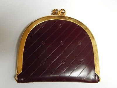 Vtg  Authentic Gucci  Burgundy Mono Leather  Kisslock Coin Purse