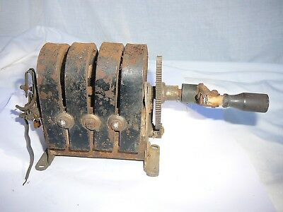 Vintage / antique timber wall telephone hand crank magneto