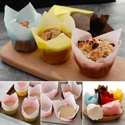 50Pcs Cupcake Wrapper Liners Muffin Tulip Case Cake Paper Baking Cups