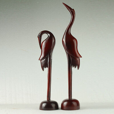 A pair of Rare Chinese Wood Hand-Carved 2 Cranes - Lifelike gd3014