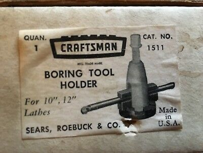 "Craftsman Boring Tool Holder for 10"" & 12"" Lathes #1511 w/ extras and orig. box"