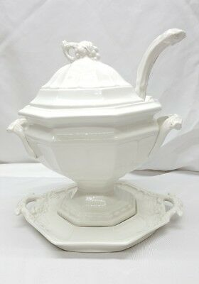 Red Cliff White Ironstone Large Grape Soup Tureen Set Lid Ladle & Tray
