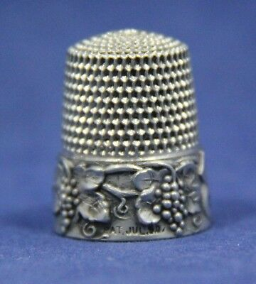 VTG Sterling Silver Grape & Vines Simons Brothers Thimble Patent July 1907 sz 10