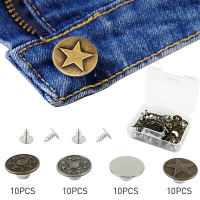 40 Sets Jeans Button Metal Tack Buttons Replacement Kit Repair For Sewing Pants