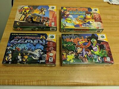 LOT of 4 Sealed NEW N64 Banjo-Kazooie, Diddy Kong Racing, Jet Force, Blast Corps