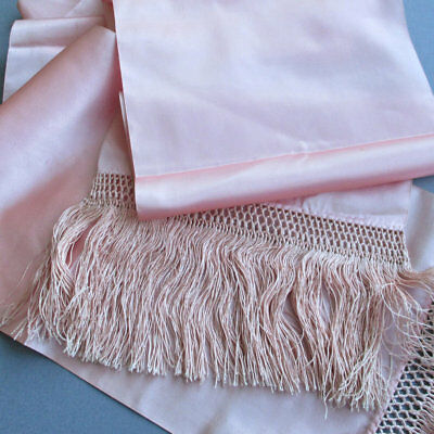 """Vintage Long Shell PINK SILK Scarf / Wrap Knotted FRINGED Ends 104"""" X 8"""" Wide"""