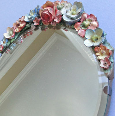 "Antique English BARBOLA 10"" Round Vanity MIRROR w Stand Swag of FLOWERS c1920s"