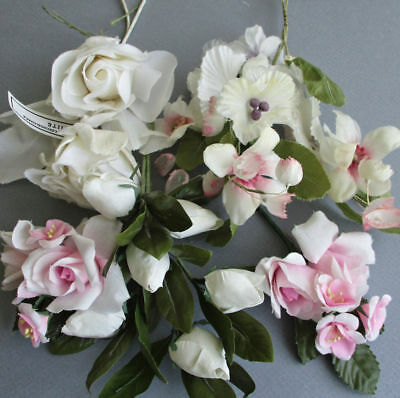 Bouquet 5 Stems Vintage MILLINERY Flowers White SILK Roses PINK Blossoms + LOV