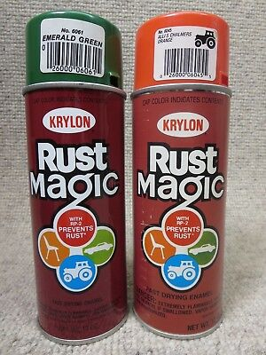2 Vtg Krylon Rust Magic Spray Paint Can Lot Barcode Stickers 1990s Allis Chalmer