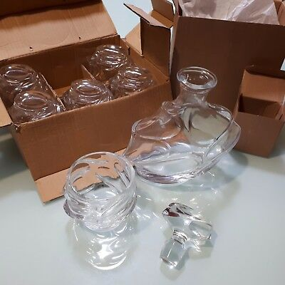 NEW WAVE Pattern Whiskey Decanter and 6 Glasses Gift Set Present NIB