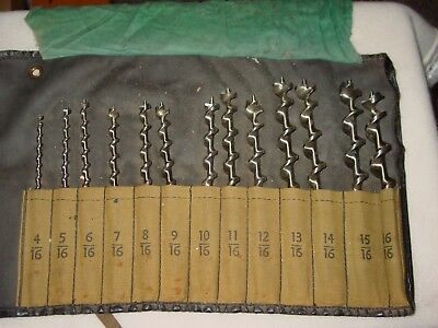 Vintage Set Of Brace Bits / Auger Drills All Marked in 16's on inch Made in USA