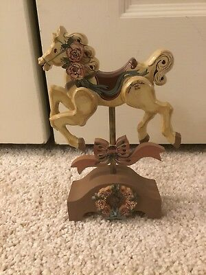 Vintage Hand Painted Horse Wood carousel Wooden Horse Hand Carved Signed