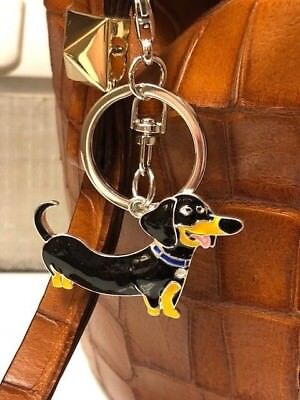 Metal Black Enamel Dachshund Key Ring/Purse Charm/ Zipper Pull