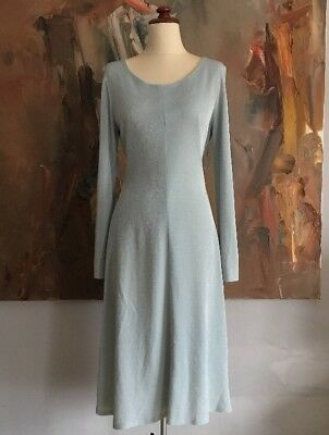 70s Vintage Duck Egg Blue Dress with Silver Shimmer sz S M