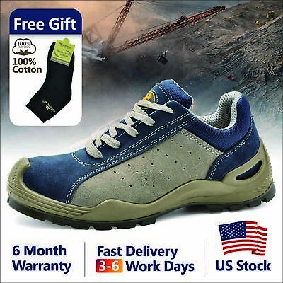 Safetoe Safety Work Shoes Mens Boots Blue Breathable Leather Steel Toe US L-7295