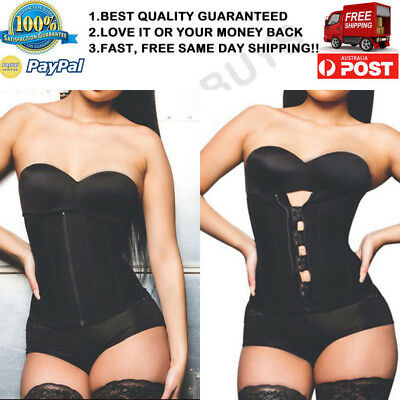 Womens Latex Waist Training Cincher Corset Body Shaper Sport Trainer Shapewear ^