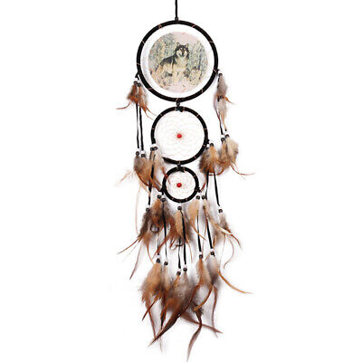 Hot Native American Dream Catcher with Feather Wolf Wall Hanging Home Decor Gift