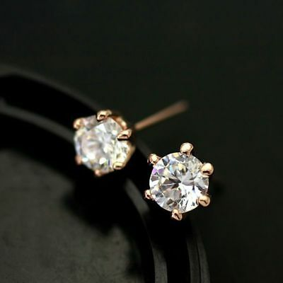 New 18K Rose Gold / White Gold GF 6MM Classic Lab Diamond Stud Earrings Stunning