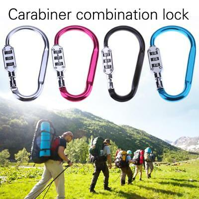 3 Digits Code Lock Carabiner Metal Keychain Clip Hook Buckle Combination Camping