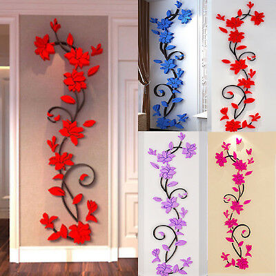 3D Flower DIY Wall Sticker Removable Vinyl Quote Decal Mural Home Room Decor Art