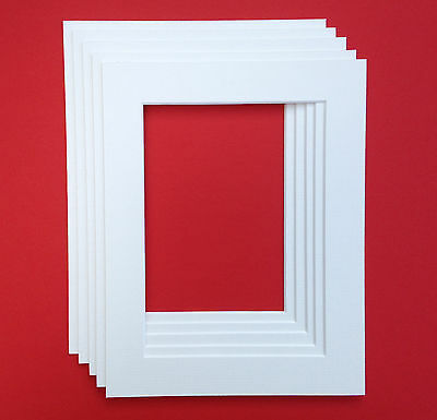 A4 White Mounts to fit 6 x 9 inch Picture/Photo - 5 PACK