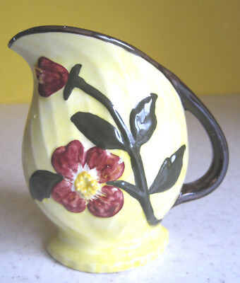 Pretty Shorter Pottery Jug Hand Painted Floral Pattern