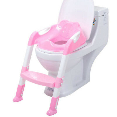 Baby Toddler Potty Toilet Trainer Ladder Training Seat Step Kid Toilet Seat Pink