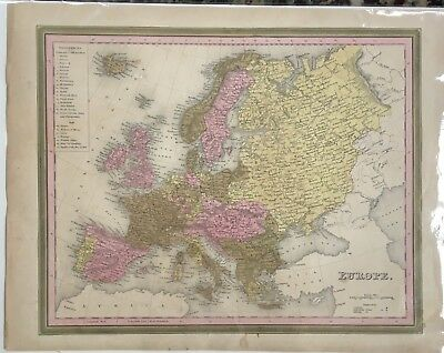 VTG 1846 Samuel Augustus MITCHELL'S ATLAS Hand Colored Map of Europe