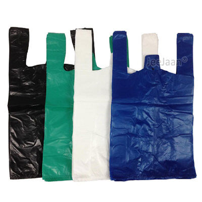 "VEST PLASTIC CARRIER BAGS GREEN BLUE BLACK 4 STAR 11""x17""x21"" SPECIAL OFFERS"